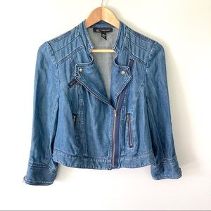 INC Jean Jacket Moto Denim